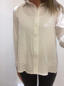 Chemise blanche coton col dentelle
