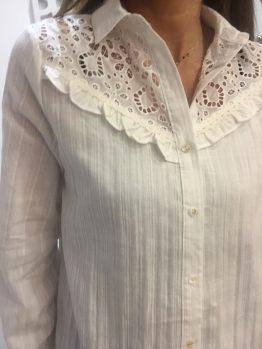 Chemise coton blanche brodée